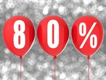80% försäljningstecken Arkivfoton