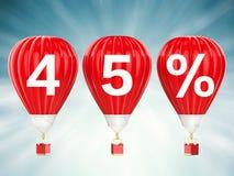 45% försäljningstecken på glödheta luftballonger Royaltyfri Bild