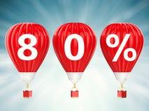80% försäljningstecken på glödheta luftballonger Arkivbilder