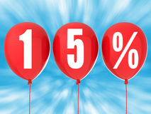 15% försäljningstecken på röda ballonger Royaltyfri Foto