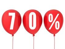 70% försäljningstecken på röda ballonger Arkivbild
