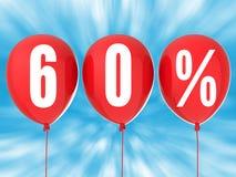 60% försäljningstecken på röda ballonger Royaltyfri Foto