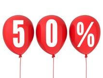 50% försäljningstecken på röda ballonger Arkivbilder