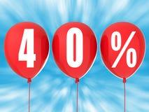 40% försäljningstecken på röda ballonger Royaltyfri Fotografi