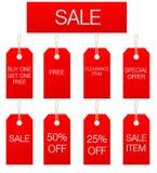 försäljningsteckenetiketter Arkivbilder