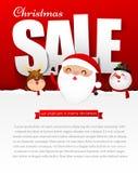 Försäljningstext för glad jul med den Santa Claus vektorillustrationen royaltyfri illustrationer