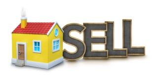 Försäljningstext med huset 3d Royaltyfria Bilder