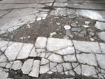 Försämras och sprucken stenlagd väg royaltyfri foto