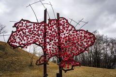 Försåg med en hulling Ukraina från blommor och - tråd Arkivfoton