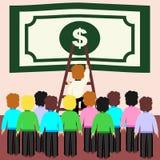 Försök för kontorsarbetare att få en dollar Begrepp av rivalitet vektor illustrationer