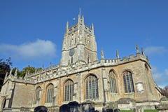 Församlingkyrka av St Mary oskulden i Fairford Royaltyfria Foton
