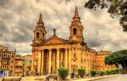 Församlingkyrka för St Publius - Malta Arkivfoton