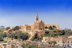 Församlingkyrka i Mgarr på den Gozo ön Malta Royaltyfri Bild