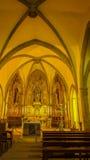 Församlingkyrkan av Santa Pau Arkivbilder