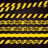 Förse med polis linjen varningsband Arkivbilder