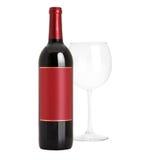 Förseglat rött vinflaska och exponeringsglas Arkivbild