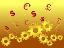 förser med kuggar valutasymbol Arkivfoton