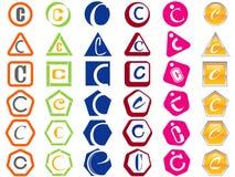 förser med märke etiketter för c-symbolsbokstav vektor illustrationer