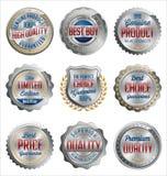 förser med märke etiketter Uppsättning av lyxig silver med röda och marindetaljer för guld, bäst kvalitet Royaltyfri Fotografi