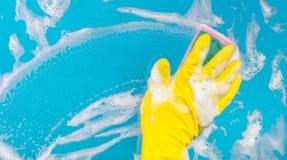Förser med rutor torkar snyltar det rengörande glass fönstret för handen med tvättmedel och eller Royaltyfri Foto