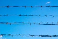 Försett med en hulling - tråd blockerar blå himmel Arkivbild