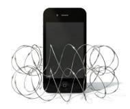 Försett med en hulling - tråd skyddade Smartphone stock illustrationer