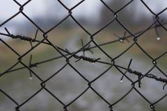 Försett med en hulling - trådstaket över bakgrund av den suddiga vägen till frihet fotografering för bildbyråer