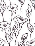Försiktig blom- sömlös modell med en vit bakgrund stock illustrationer