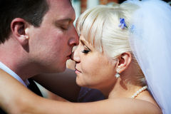 försiktig brudgumkyss för brud Royaltyfria Foton