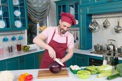 Försiktig kock som ler, medan klippa kål för en sallad royaltyfri bild