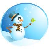försiktig snowman Arkivfoton