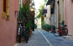 Försiktig sommarmorgon på en smal gata Royaltyfria Foton