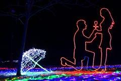 Försiktiga och romantiska konturer av en man på hans knä, som gör ett förslag till kvinnan om kopplingen som göras av LED bandet arkivfoto