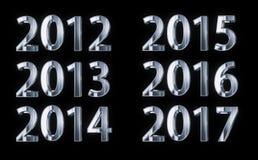 Försilvra året numrerar 2012-2017 vektor illustrationer