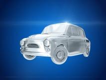 Försilvra bilen framförande 3d Fotografering för Bildbyråer