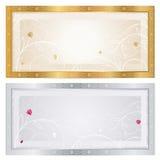 Försilvra/den guld- kupongmallen med blom- mönstrar