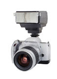 Försilvra den parallella kameran med linsen och exponeringen som isoleras på en vit bakgrund Royaltyfria Foton