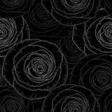 Försilvra den sömlösa hand-teckningen blom- bakgrund med guld- blommarosor också vektor för coreldrawillustration arkivfoton