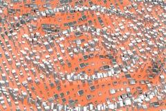 Försilvra, eller vit guld- platina blockerar kuber över ljust - rosa orange vågbakgrund Modellera illustrationen 3d rikedomrich royaltyfria bilder