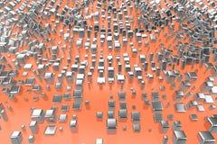 Försilvra, eller vit guld- platina blockerar kuber över ljust - rosa orange vågbakgrund Modellera illustrationen 3d rikedomrich royaltyfri bild