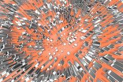 Försilvra, eller vit guld- platina blockerar kuber över ljust - rosa orange vågbakgrund Modellera illustrationen 3d rikedomrich royaltyfri foto