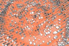 Försilvra, eller vit guld- platina blockerar kuber över ljust - rosa orange vågbakgrund Modellera illustrationen 3d rikedomrich royaltyfria foton