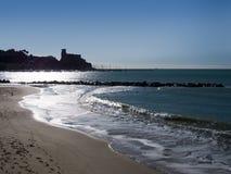 Försilvra havet på Lerici i Liguria, Italien Populär turist- destinat Royaltyfri Foto