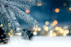 Försilvra julträdfilialen med den dekorativa bollen på suddig lig royaltyfri foto