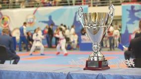 Försilvra koppen framme av kämpar på karateturneringen stock video