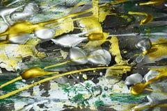 Försilvra målarfärg för gräsplan för gul guld mörk, skuggor på livlig abstrakt bakgrund Fotografering för Bildbyråer