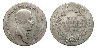 Försilvra myntTyskland Preussen 1 taler Friedrich 1812 tyska välde royaltyfria foton