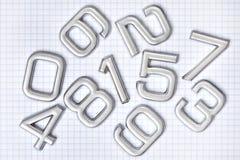 Försilvra numrerar Arkivbild