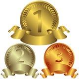 Försilvra och bronsmedaljer (vektorn,) guld- royaltyfri fotografi