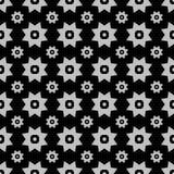 Försilvra på svart med olika två storleksanpassade stjärnor med fyrkanter och cirklar sömlös repetitionmodellbakgrund stock illustrationer